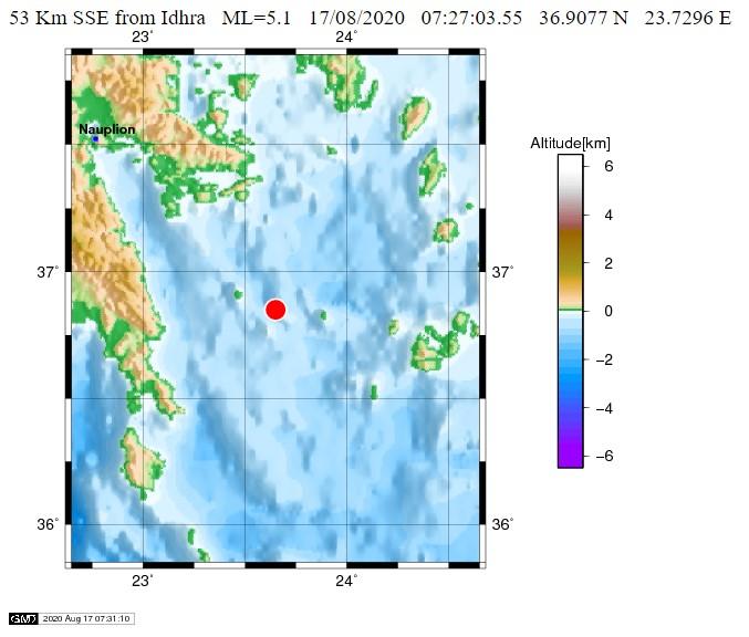Σεισμός 5,2R νότια της Ύδρας – Αισθητός και στην Ηλεία