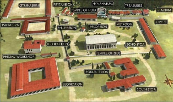 χάρτης του αρχαιολογικού χώρου της Αρχαίας Ολυμπίας