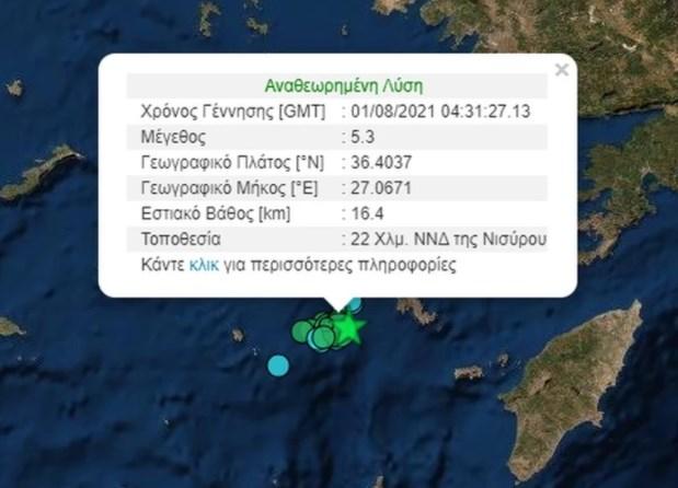 Νίσυρος: Νέος ισχυρός σεισμός με μέγεθος 5,1 Ρίχτερ – Είχαν προηγηθεί δύο ασθενέστερες δονήσεις