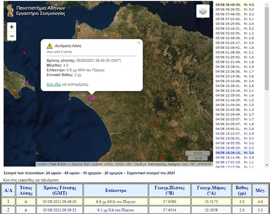 Πύργος: Δύο σεισμικές δονήσεις μέσα σε λίγα λεπτά ταρακούνησαν την πόλη- Αισθητές και στις γύρω περιοχές
